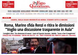 Así titulaba el diario Il Fatto Quotidiano despúes la noticia de que Marino retira su dimisión