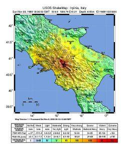La intensidad del terremoto en el sur de Italia
