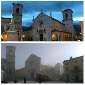 La catedral de Norcia antes y después del terremoto del 30-10-2016